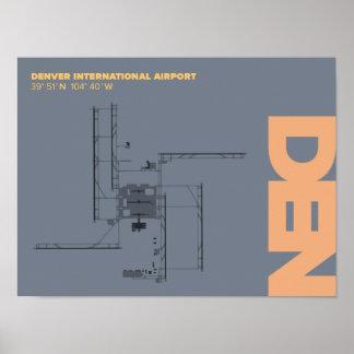 Poster do diagrama do aeroporto de Denver (ANTRO) Pôster