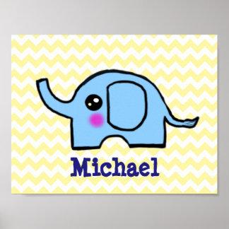 Poster do elefante do berçário do bebê pôster