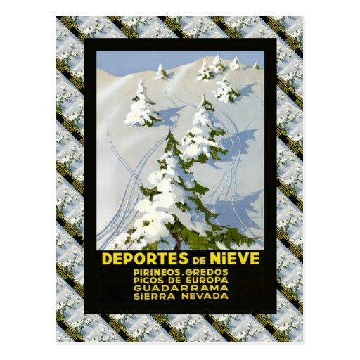 Poster do esqui do vintage da réplica, Picos de Eu Cartao Postal