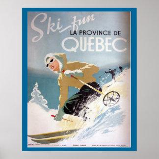 Poster do esqui do vintage, Quebeque para esportes Pôster