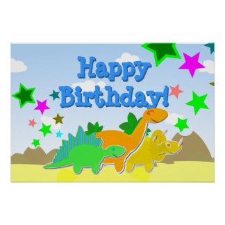 Poster do feliz aniversario dos dinossauros