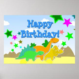 Poster do feliz aniversario dos dinossauros pôster