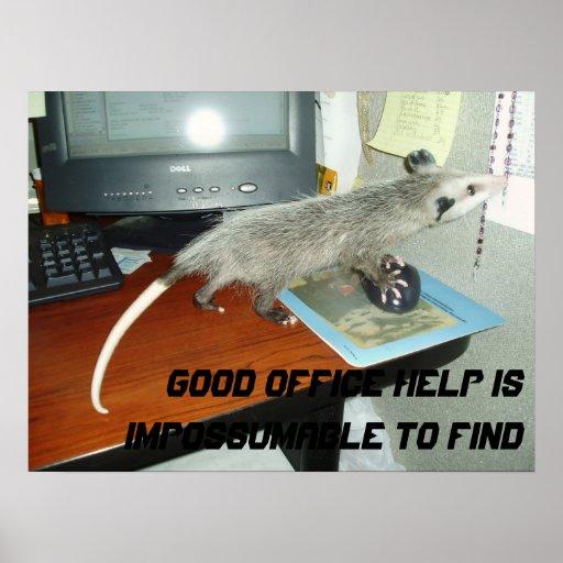 Poster do gambá da ajuda do escritório