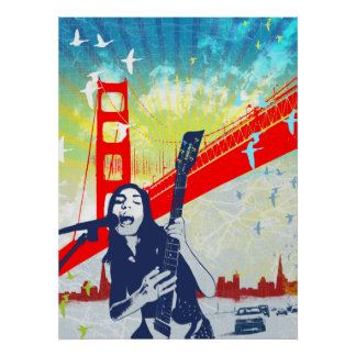 Poster do guitarrista do Golden Gate Pôster