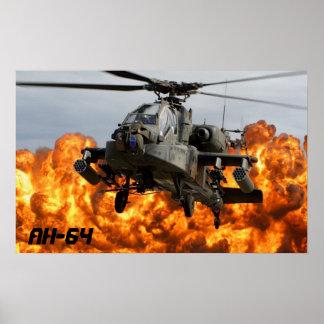 POSTER DO HELICÓPTERO DE AH-64 APACHE