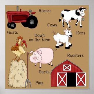 Poster do impressão da arte dos animais de fazenda