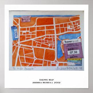 Poster do mapa de Dieppe Pôster