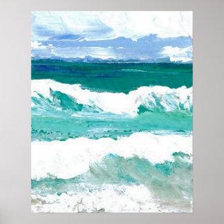 Poster do oceano de CricketDiane - ondas na ação