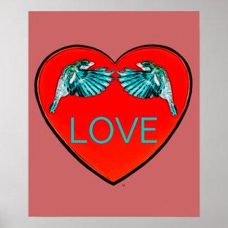 Poster do pop art do coração dos pássaros do amor
