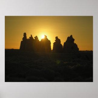 Poster do por do sol do castelo da areia de Saraso
