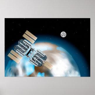Poster do Scifi da estação espacial Pôster