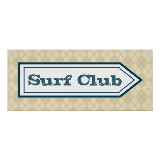 Poster do sinal do clube do surf pôster