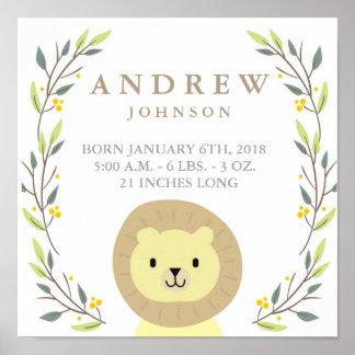 Poster do Stats do bebê do leão do safari Pôster