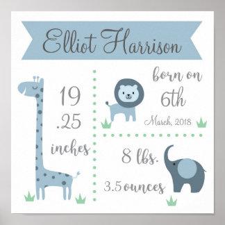 Poster do Stats do bebê do safari de selva Pôster