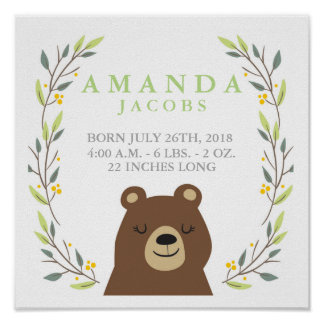 Poster do Stats do bebê do urso da floresta Pôster