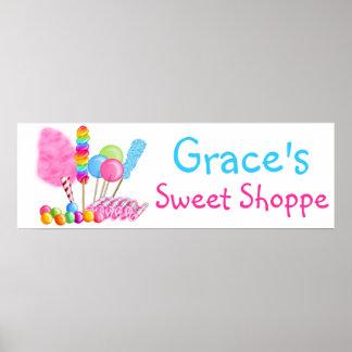 Poster doce da bandeira da loja do circo dos doces