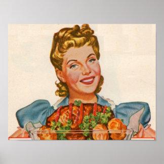 Poster dona de casa orgulhosa com sua criação do comensal