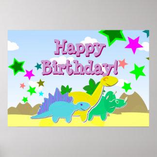 Poster dos dinossauros do feliz aniversario pôster