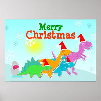 Poster dos dinossauros do Feliz Natal Pôster