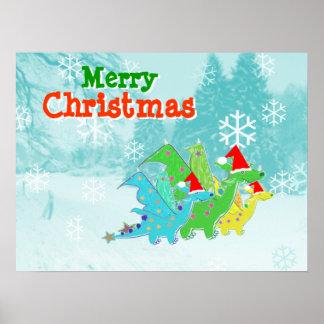 Poster dos dragões de Kawaii do Feliz Natal Pôster