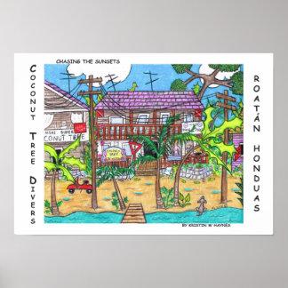 Poster dos mergulhadores da árvore de coco