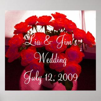 Poster dos namorados do casamento da rosa vermelha