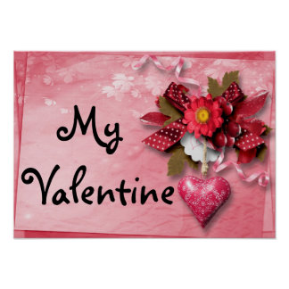 Poster dos namorados do coração e da flor