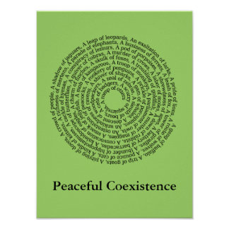 Poster dos nomes de grupo animal/coexistência calm