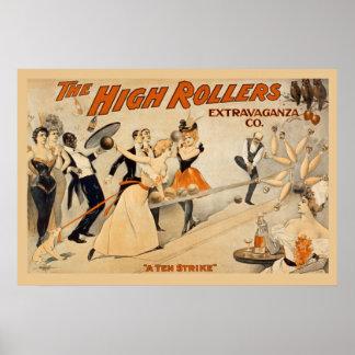 Poster dos rolos altos do vintage