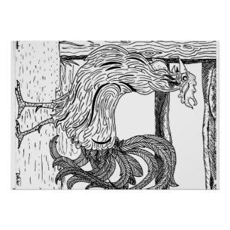 Poster dos trabalhos de arte do galo