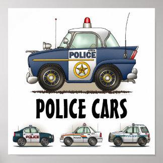 Poster dos veículos da polícia dos carros de políc