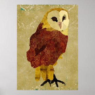 Poster dourado da arte da coruja do rubi