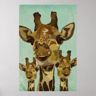 Poster dourado da arte dos girafas do damasco