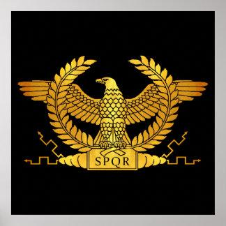 Poster Eagle dourado romano no preto