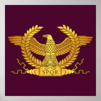 Poster Eagle dourado romano no roxo