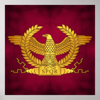 Póster Eagle dourado romano no roxo