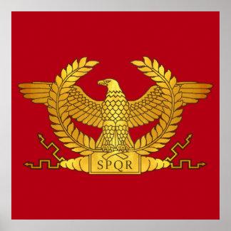 Póster Eagle dourado romano no vermelho