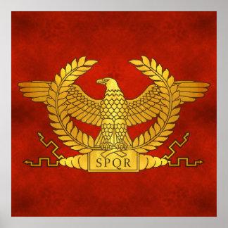Póster Eagle dourado romano no vermelho antigo