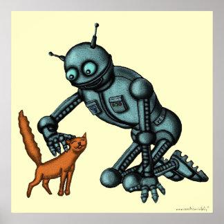Poster engraçado da arte do robô e do gato
