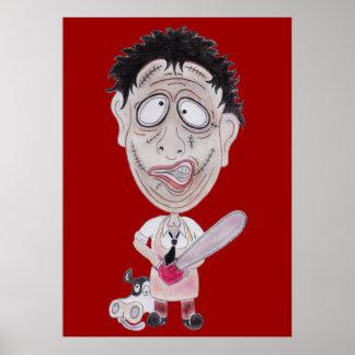 Poster engraçado da caricatura do carniceiro do