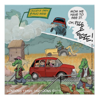 Poster engraçado da fazenda do crocodilo