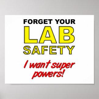 Poster engraçado da segurança do laboratório