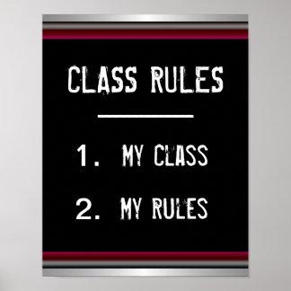 Poster engraçado das regras de classe