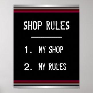 Poster engraçado das regras de loja