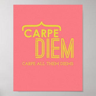 Poster engraçado de Carpe Diem no rosa & no ouro Pôster