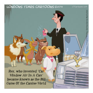 Poster engraçado do cão muito rico