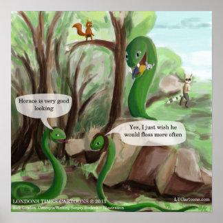Poster engraçado do cobra & do rato