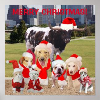 Poster engraçado do Feliz Natal dos animais de