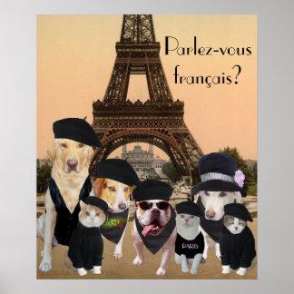 Poster engraçado do professor francês dos cães e