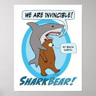 Poster engraçado do tubarão e do urso